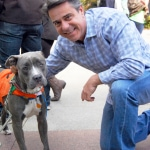 Councilman Bobby Henon made quick friends with adoptable dog Mr. K